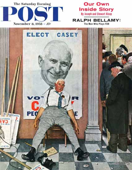 Norman Rockwell Saturday Evening Post Elect Casey 1958_11_08 | The Saturday Evening Post Graphic Art Covers 1931-1969