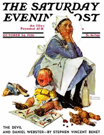 Norman Rockwell Saturday Evening Post Exasperated Nanny 1936_10_24 | 400 Norman Rockwell Magazine Covers 1913-1963
