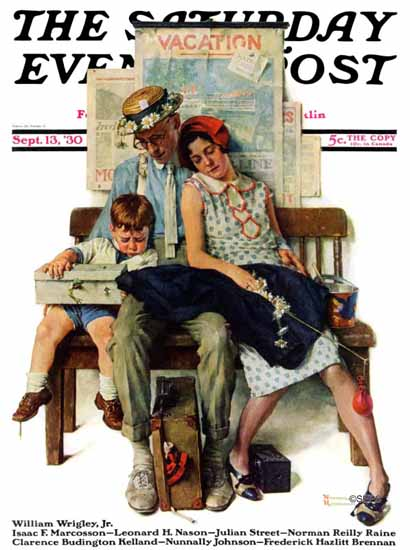 Norman Rockwell Saturday Evening Post Exhausting Vacation 1930_09_13 | The Saturday Evening Post Graphic Art Covers 1892-1930