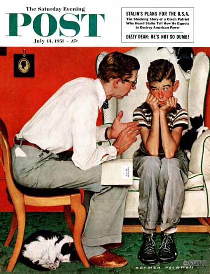 Norman Rockwell Saturday Evening Post Facts of Life 1951_07_14 | The Saturday Evening Post Graphic Art Covers 1931-1969
