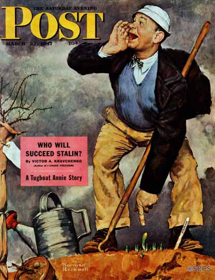 Norman Rockwell Saturday Evening Post First Crocus 1947_03_22 | The Saturday Evening Post Graphic Art Covers 1931-1969