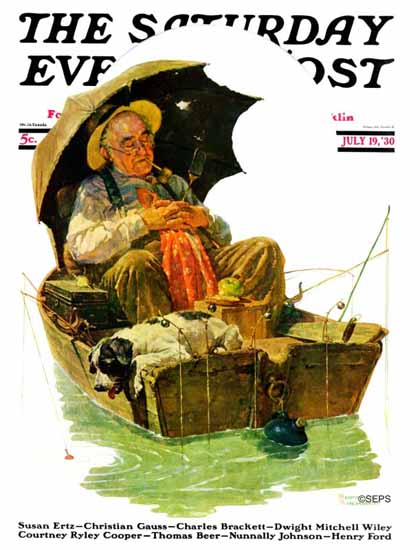 Norman Rockwell Saturday Evening Post Fishermans Break 1930_07_19 | The Saturday Evening Post Graphic Art Covers 1892-1930