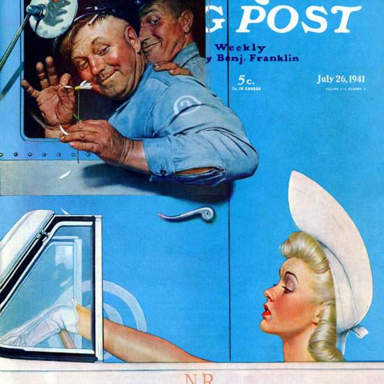 Norman Rockwell Saturday Evening Post Flirt 1941_07_26 Copyright crop | Best of Vintage Cover Art 1900-1970