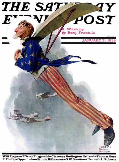 Norman Rockwell Saturday Evening Post Flying Uncle Sam 1928_01_21 | 400 Norman Rockwell Magazine Covers 1913-1963