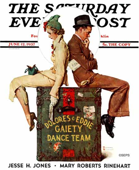 Norman Rockwell Saturday Evening Post Gaiety Dance Team 1937_06_12 | The Saturday Evening Post Graphic Art Covers 1931-1969