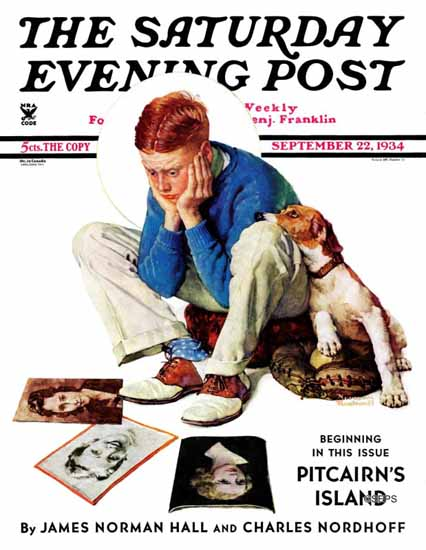 Norman Rockwell Saturday Evening Post Gazing at Cover Girls 1934_09_22 | The Saturday Evening Post Graphic Art Covers 1931-1969