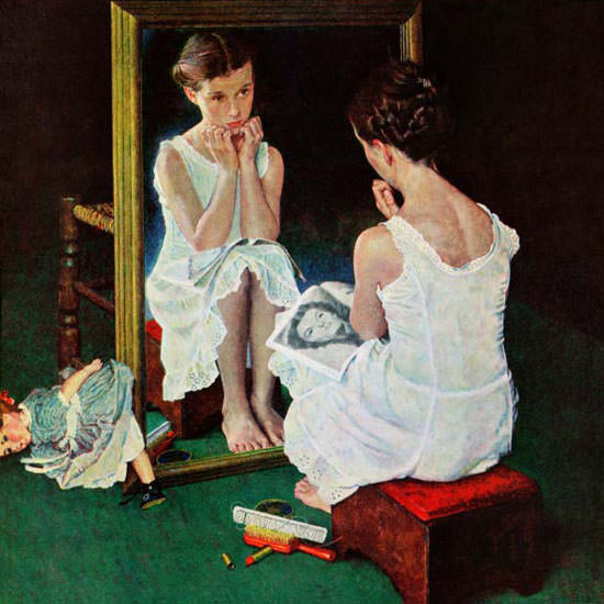 Norman Rockwell Saturday Evening Post Girl 1954_03_06 Copyright crop | Best of Vintage Cover Art 1900-1970