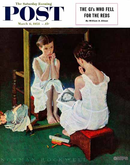 Norman Rockwell Saturday Evening Post Girl at the Mirror 1954_03_06 | 400 Norman Rockwell Magazine Covers 1913-1963