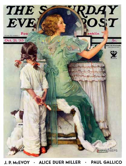 Norman Rockwell Saturday Evening Post Going Out 1933_10_21   400 Norman Rockwell Magazine Covers 1913-1963