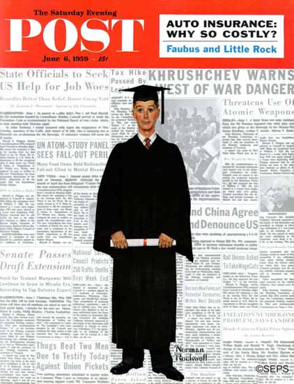 Norman Rockwell Saturday Evening Post Graduate 1959_06_06 | The Saturday Evening Post Graphic Art Covers 1931-1969