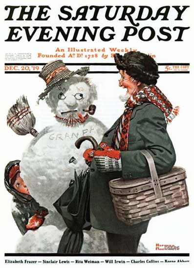 Norman Rockwell Saturday Evening Post Grandpa Snowman 1919_12_20 | 400 Norman Rockwell Magazine Covers 1913-1963