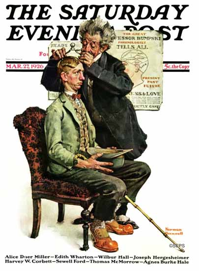 Norman Rockwell Saturday Evening Post Great Phrenologist 1926_03_27 | 400 Norman Rockwell Magazine Covers 1913-1963
