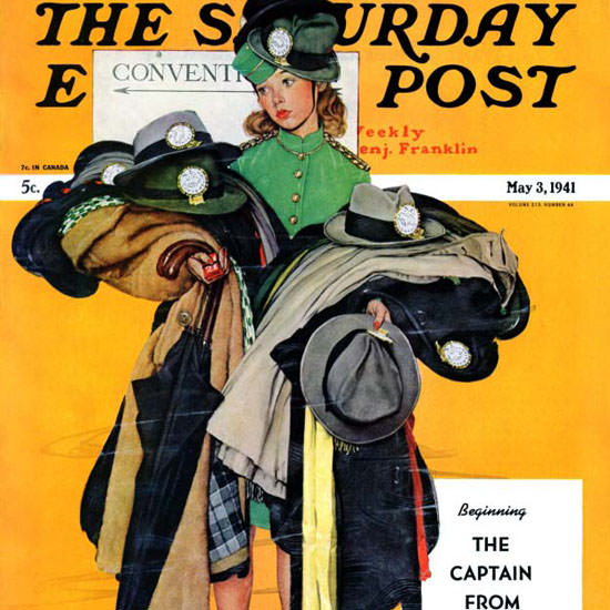 Norman Rockwell Saturday Evening Post Hat 1941_05_03 Copyright crop | Best of Vintage Cover Art 1900-1970