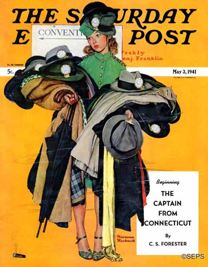 Norman Rockwell Saturday Evening Post Hatcheck Girl 1941_05_03 | 400 Norman Rockwell Magazine Covers 1913-1963