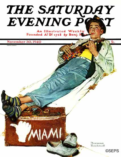 Norman Rockwell Saturday Evening Post Hitchhiker to Miami 1940_11_30 | 400 Norman Rockwell Magazine Covers 1913-1963