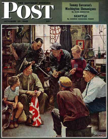 Norman Rockwell Saturday Evening Post Home Marine 1945_10_13 | The Saturday Evening Post Graphic Art Covers 1931-1969