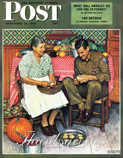 Norman Rockwell Saturday Evening Post Home Thanksgiving 1945_11_24   The Saturday Evening Post Graphic Art Covers 1931-1969