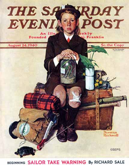 Norman Rockwell Saturday Evening Post Home from Camp 1940_08_24 | 400 Norman Rockwell Magazine Covers 1913-1963