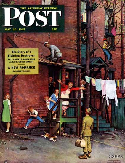 Norman Rockwell Saturday Evening Post Homecoming GI 1945_05_26 | The Saturday Evening Post Graphic Art Covers 1931-1969