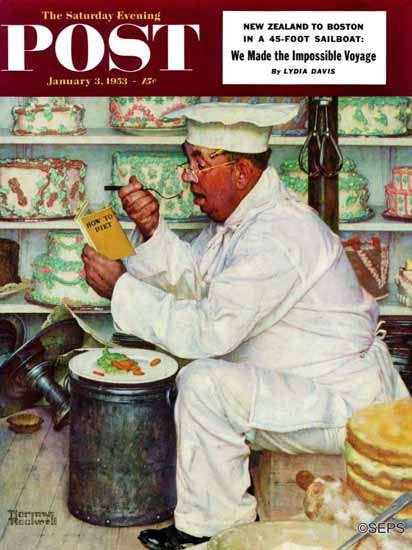 Norman Rockwell Saturday Evening Post How to Diet 1953_01_03 | The Saturday Evening Post Graphic Art Covers 1931-1969