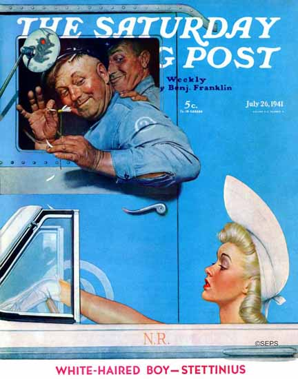 Norman Rockwell Saturday Evening Post Ignored Flirt 1941_07_26 | The Saturday Evening Post Graphic Art Covers 1931-1969