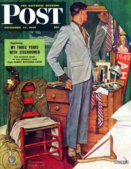 Norman Rockwell Saturday Evening Post Imperfect Fit 1945_12_15 | 400 Norman Rockwell Magazine Covers 1913-1963