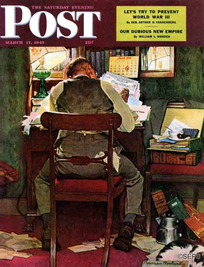 Norman Rockwell Saturday Evening Post Income Tax Time 1945_03_17 | The Saturday Evening Post Graphic Art Covers 1931-1969
