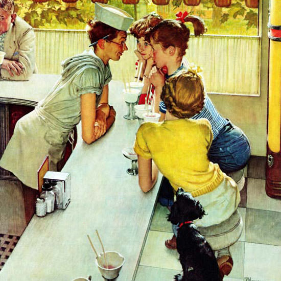 Norman Rockwell Saturday Evening Post Jerk 1953_08_22 Copyright crop | Best of Vintage Cover Art 1900-1970