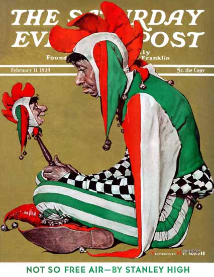 Norman Rockwell Saturday Evening Post Jester 1939_02_11 | The Saturday Evening Post Graphic Art Covers 1931-1969