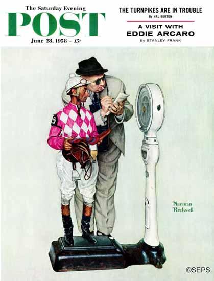 Norman Rockwell Saturday Evening Post Jockey Weighing In 1958_06_28   The Saturday Evening Post Graphic Art Covers 1931-1969