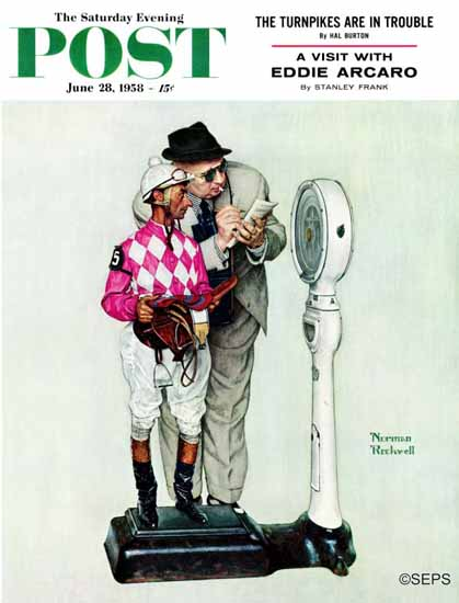 Norman Rockwell Saturday Evening Post Jockey Weighing In 1958_06_28 | 400 Norman Rockwell Magazine Covers 1913-1963