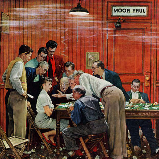 Norman Rockwell Saturday Evening Post Jury 1959_02_14 Copyright crop | Best of Vintage Cover Art 1900-1970