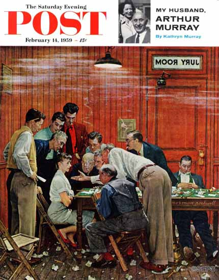 Norman Rockwell Saturday Evening Post Jury or Holdout 1959_02_14 | The Saturday Evening Post Graphic Art Covers 1931-1969