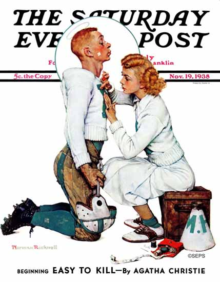 Norman Rockwell Saturday Evening Post Letter Sweater 1938_11_19 | 400 Norman Rockwell Magazine Covers 1913-1963