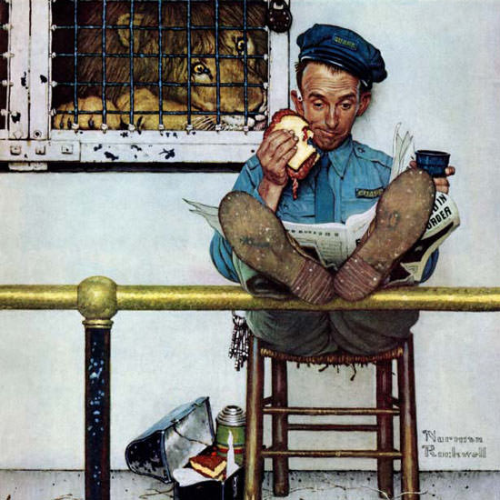 Norman Rockwell Saturday Evening Post Lion 1954_01_09 Copyright crop | Best of Vintage Cover Art 1900-1970