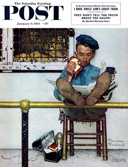 Norman Rockwell Saturday Evening Post Lion and His Keeper 1954_01_09 | The Saturday Evening Post Graphic Art Covers 1931-1969