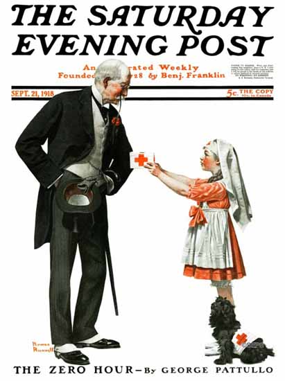 Norman Rockwell Saturday Evening Post Little Nurse 1918_09_21 | The Saturday Evening Post Graphic Art Covers 1892-1930