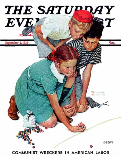 Norman Rockwell Saturday Evening Post Marble Champion 1939_09_02 | The Saturday Evening Post Graphic Art Covers 1931-1969