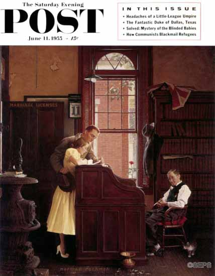 Norman Rockwell Saturday Evening Post Marriage License 1955_06_11 | The Saturday Evening Post Graphic Art Covers 1931-1969