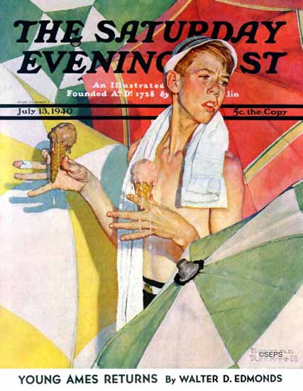 Norman Rockwell Saturday Evening Post Melting Ice Cream 1940_07_13 | The Saturday Evening Post Graphic Art Covers 1931-1969