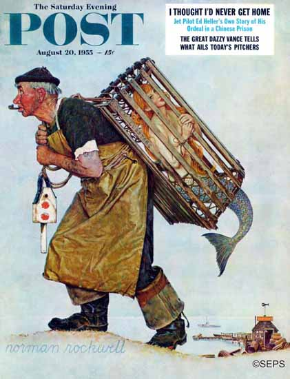 Norman Rockwell Saturday Evening Post Mermaid 1955_08_20 | The Saturday Evening Post Graphic Art Covers 1931-1969