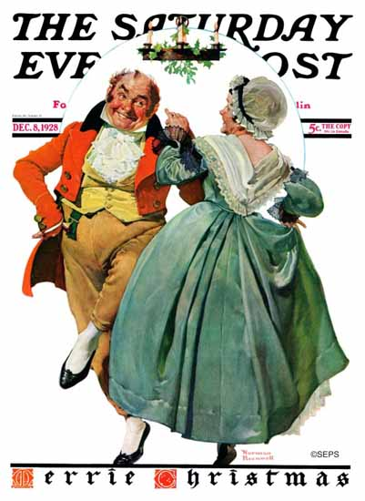 Norman Rockwell Saturday Evening Post Merrie Christmas 1928_12_08 | 400 Norman Rockwell Magazine Covers 1913-1963