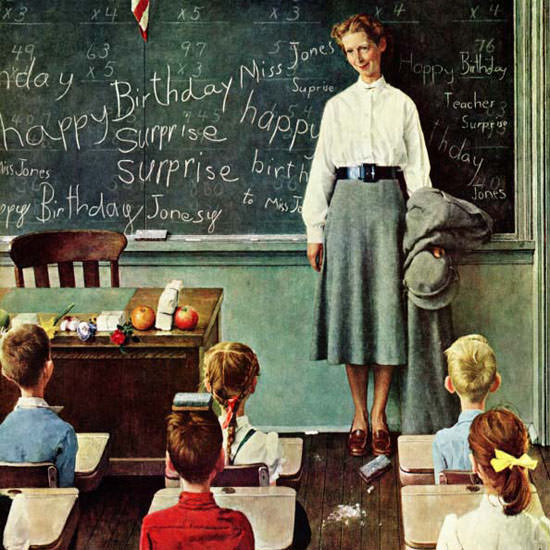 Norman Rockwell Saturday Evening Post Miss 1956_03_17 Copyright crop | Best of Vintage Cover Art 1900-1970