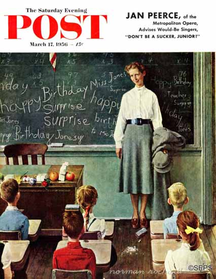 Norman Rockwell Saturday Evening Post Miss Jones Birthday 1956_03_17 | The Saturday Evening Post Graphic Art Covers 1931-1969