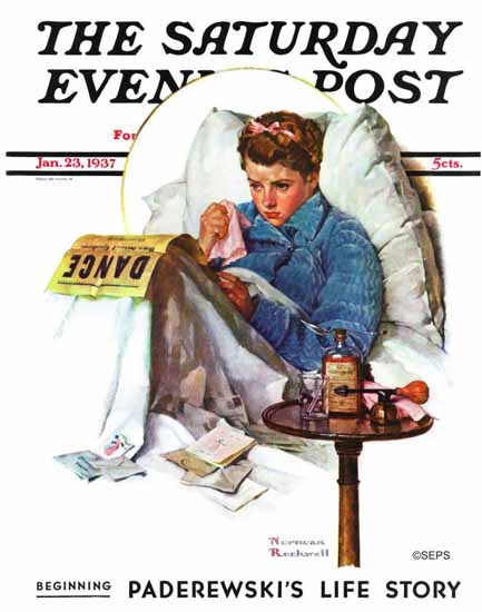 Norman Rockwell Saturday Evening Post Missing the Dance 1937_01_23 | The Saturday Evening Post Graphic Art Covers 1931-1969