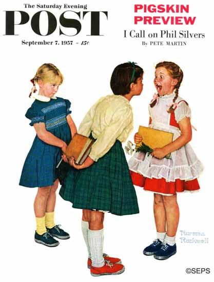 Norman Rockwell Saturday Evening Post Missing tooth 1957_09_07 | 400 Norman Rockwell Magazine Covers 1913-1963