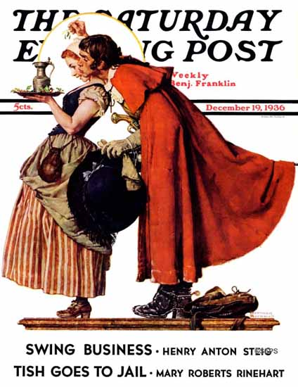 Norman Rockwell Saturday Evening Post Mistletoe Kiss 1936_12_19 | The Saturday Evening Post Graphic Art Covers 1931-1969