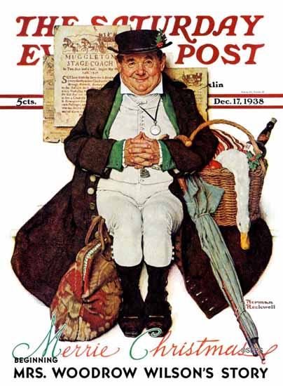 Norman Rockwell Saturday Evening Post Muggleston Coach 1938_12_17 | The Saturday Evening Post Graphic Art Covers 1931-1969