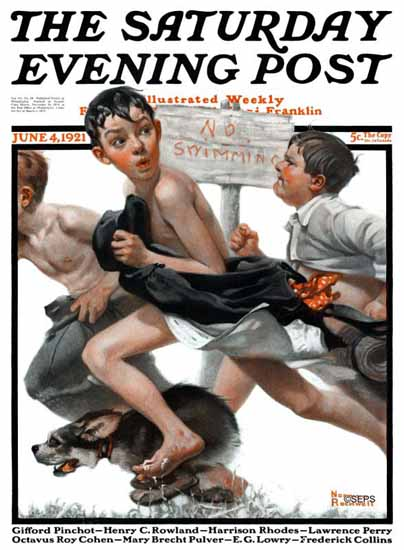 Norman Rockwell Saturday Evening Post NO Swimming 1921_06_04 | 400 Norman Rockwell Magazine Covers 1913-1963