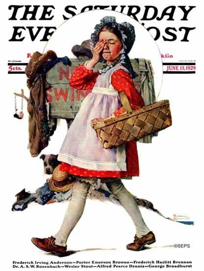 Norman Rockwell Saturday Evening Post NO Swimming 1929_06_15 | The Saturday Evening Post Graphic Art Covers 1892-1930